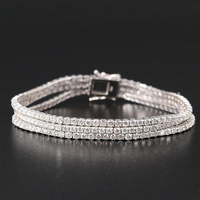18K 9.78 CTW Diamond Triple Strand Line Bracelet