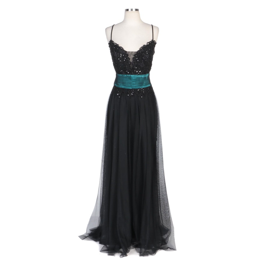 Alberto Makali Embellished Black Tulle Evening Gown with Teal Pleated Detailing