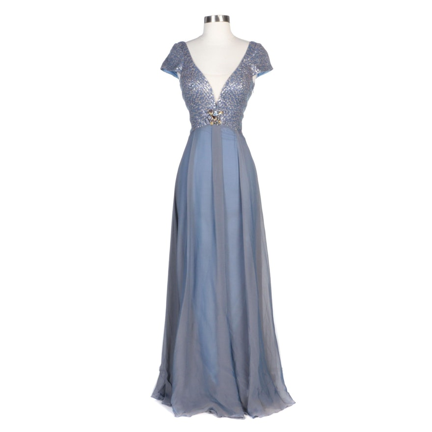 Alberto Makali Blue Silk Evening Dress with Brooch and Sequined Bodice