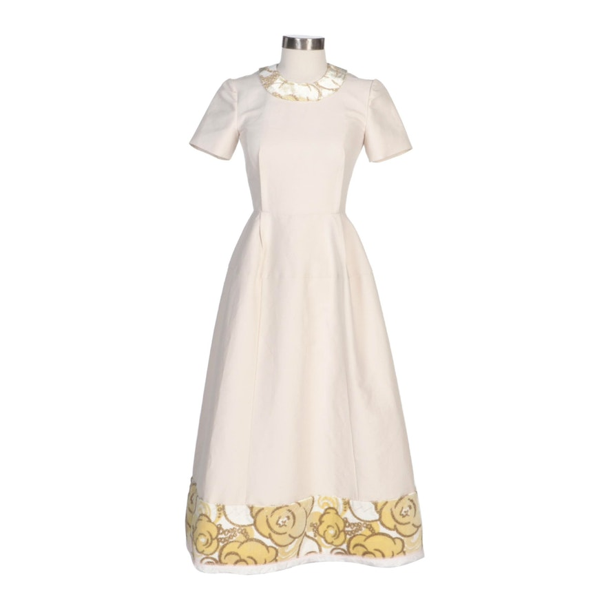 Marni Short Sleeve Fitted Evening Dress with Flocked Collar and Hem Panel