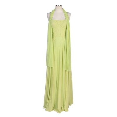 Alberto Makali Sleeveless Evening Dress with Interwoven Chain Straps and Wrap