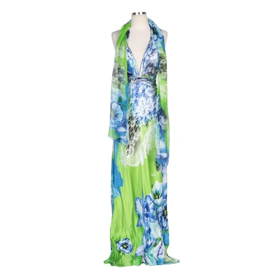 Alberto Makali Blue and Green Patterned Silk Halter Dress with Shoulder Wrap