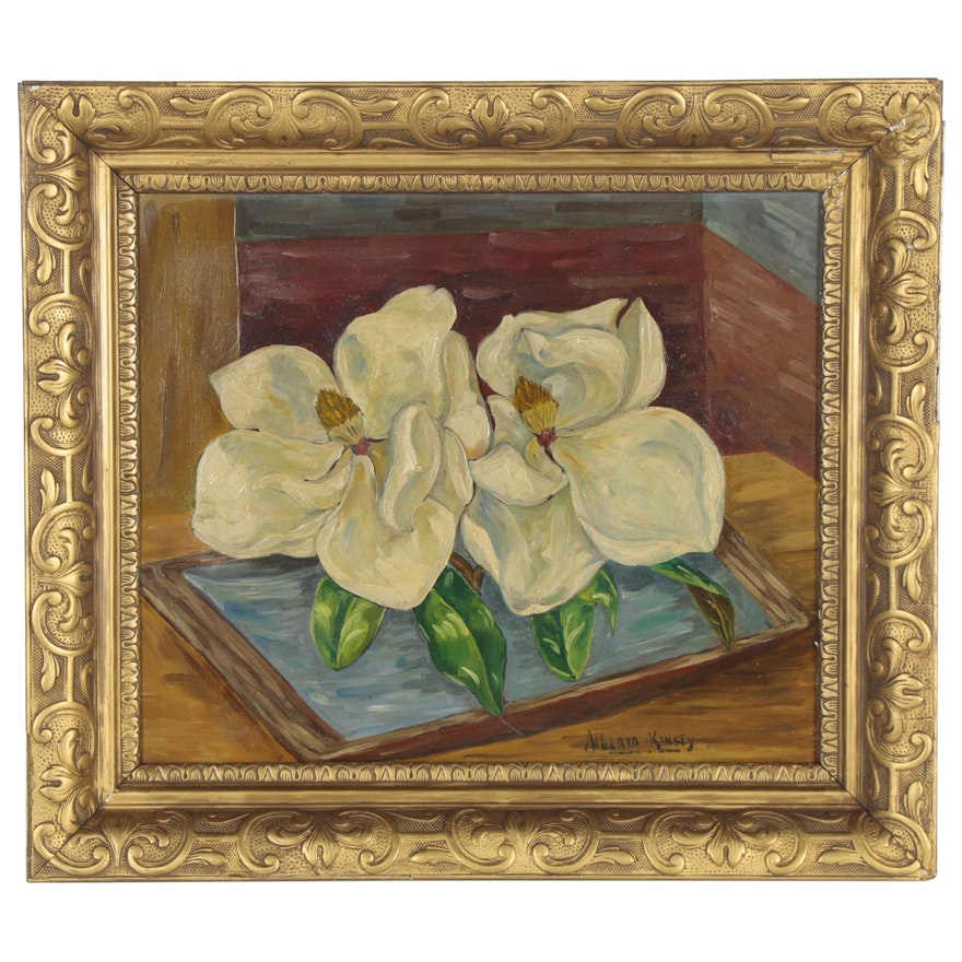 Alberta Kinsey Oil Painting of Magnolias, Early 20th Century