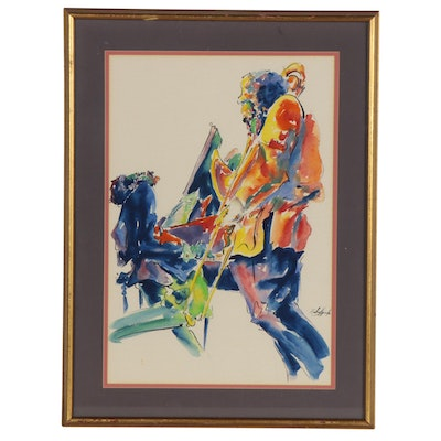 Michael Smiroldo Watercolor Painting of Jazz Musicians