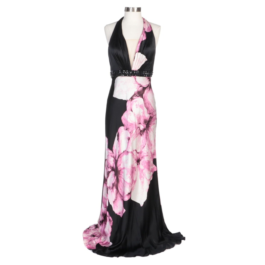 Alberto Makali Pink Floral and Black Silk Halter Dress with Embellished Waist