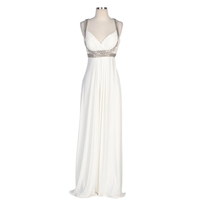Alberto Makali White Evening Dress with Chain Link Embellishments
