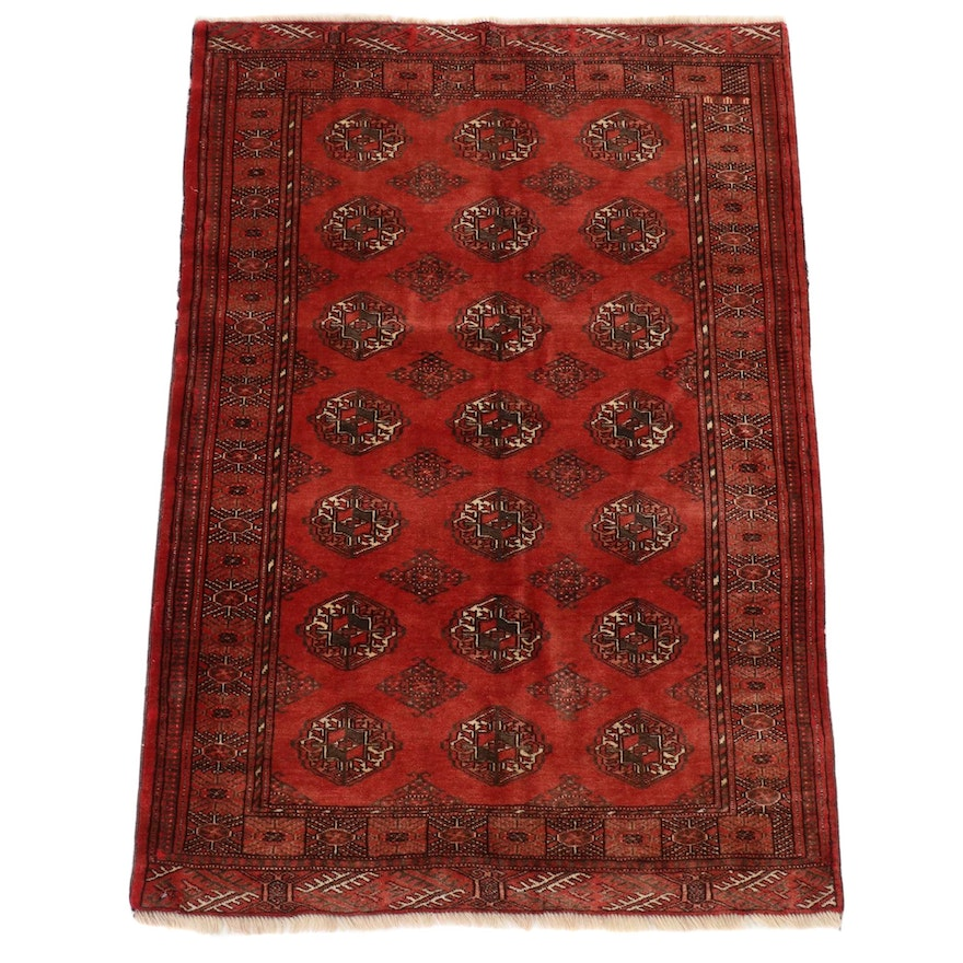 3'8 x 5'9 Hand-Knotted Persian Turkmen Rug, circa 1970s