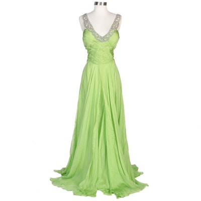 Alberto Makali Green Silk Pleated Evening Gown with Embellished Neckline
