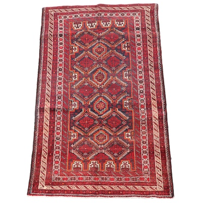 3'4 x 6'1 Hand-Knotted Afghan Baluch Wool Area Rug