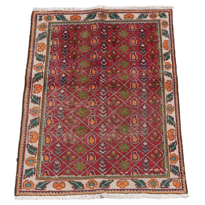 3'2 x 4'9 Hand-Knotted Persian Gabbeh Wool Area Rug