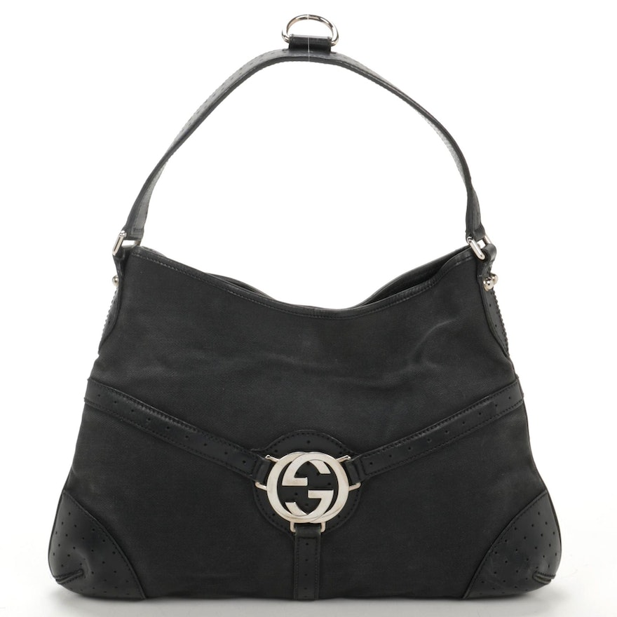 Gucci Interlocking Shoulder Bag in Black Canvas and Leather