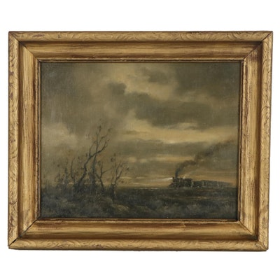 D.R. Parker Oil Painting of Cloudy Landscape with Train