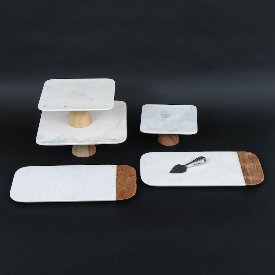 White Marble and Wood Serving Boards and Tiered Stands, Contemporary