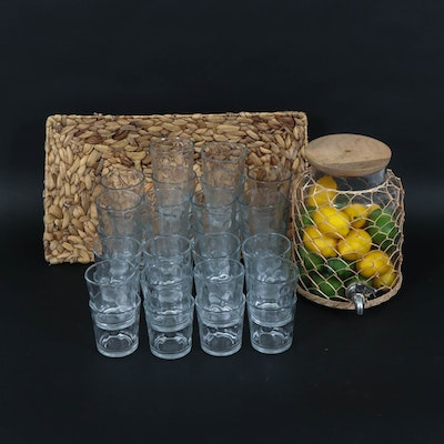 Glass Framed Beverage Dispenser with Glasses and Rattan Basket, Contemporary