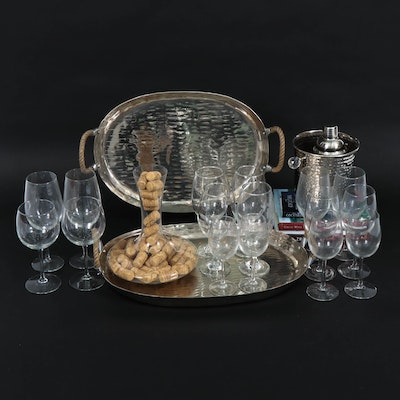 Hammered Metal Cocktail Shaker, Ice Bucket with Other Barware, Contemporary