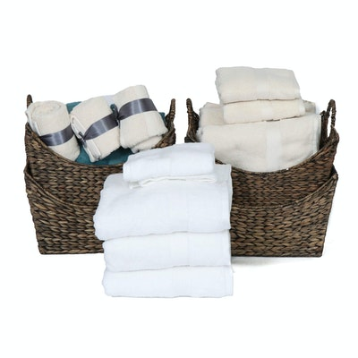 Cotton Bath and Hand Towels with Woven Raffia Storage Baskets