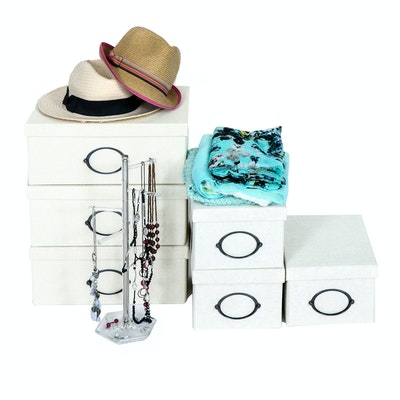 Woven Fabric Storage Boxes, Wraps, Woven Hats and Fashion Jewelry