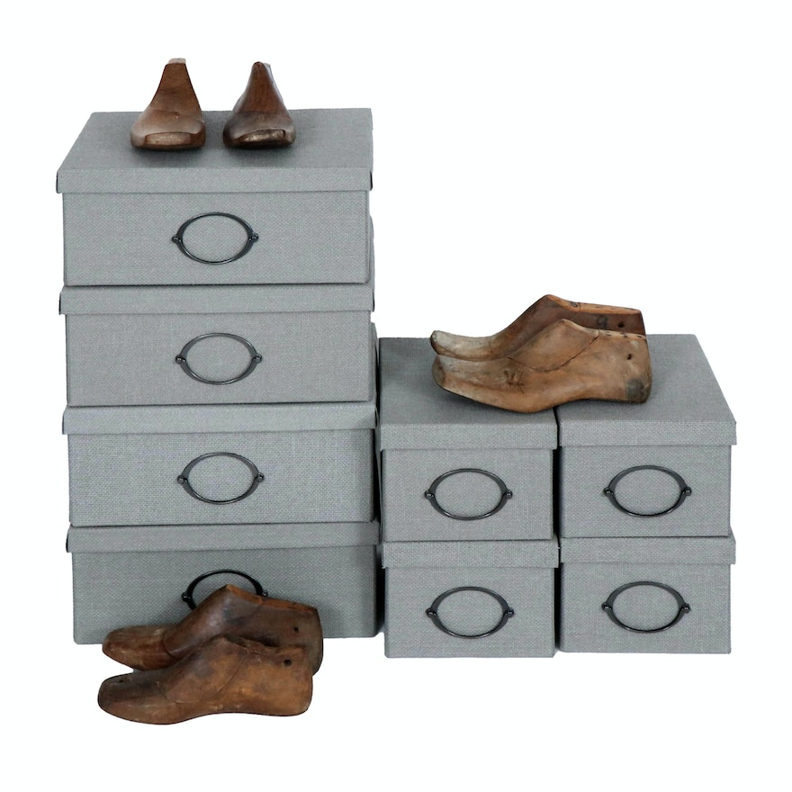 Heather Grey Woven Storage Boxes with Primitive Style Shoe Molds, Contemporary