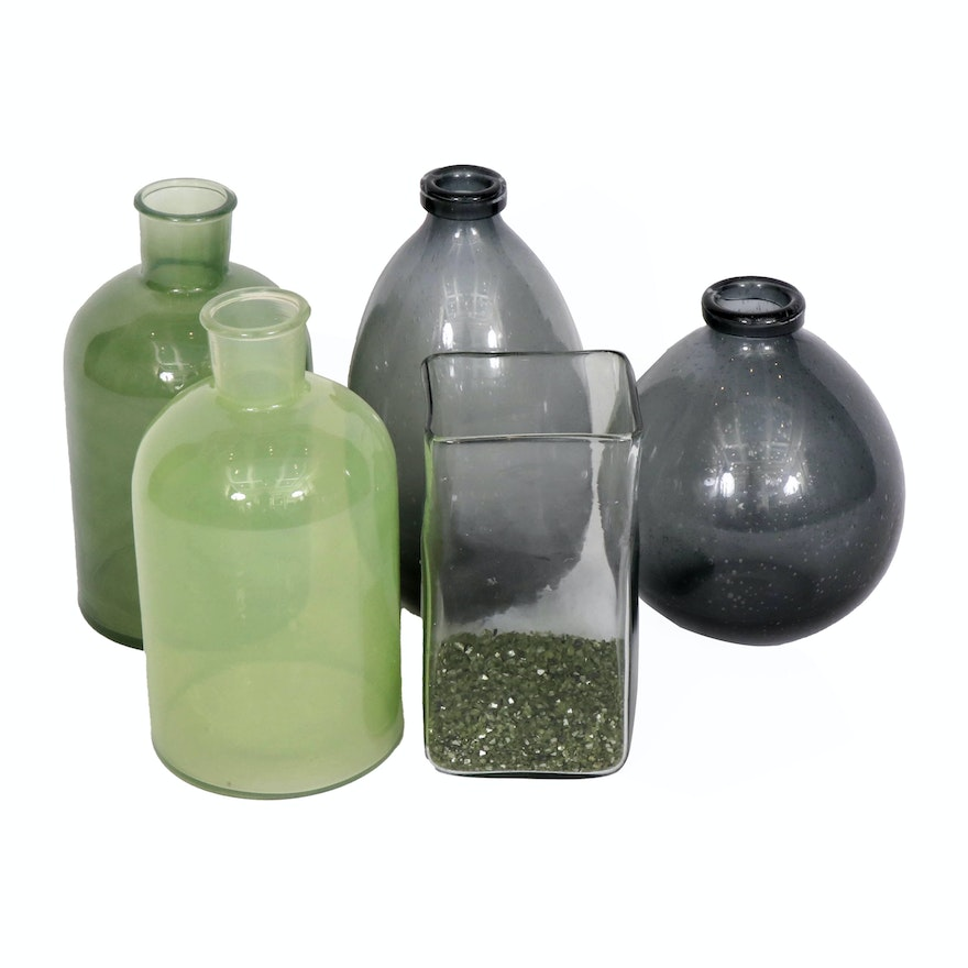 Green Glass and Grey Glass Rustic Vases and Candle Holder