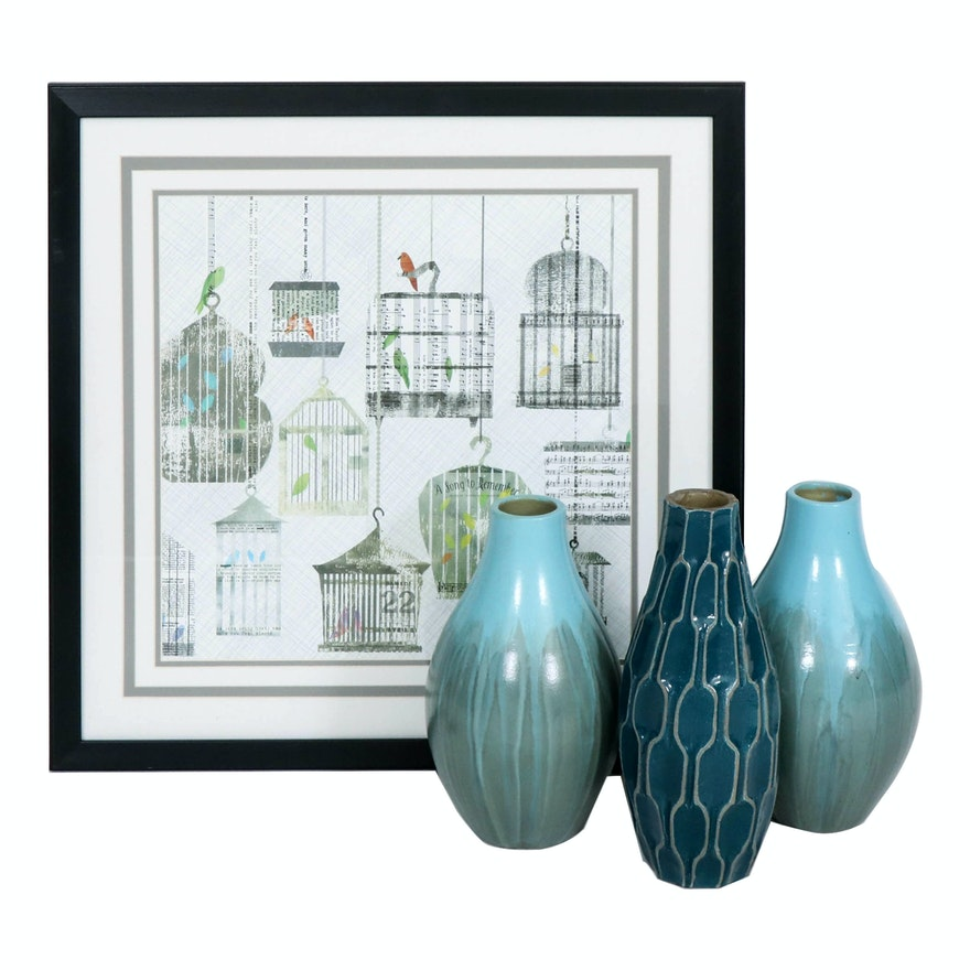 "Offset Lithograph ""Birdcages Collage I"" and Glazed Blue Clay Vases"