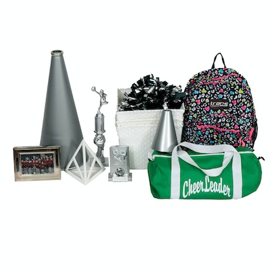 Cheer-Themed Room Decor Including Bags, Picture Frames and Storage Baskets
