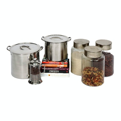 Gourmet Cookbooks, Glass Canisters and Stainless Steel Stock Pots