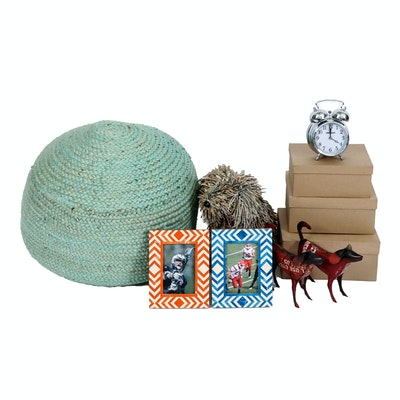 Puli Dog Newspaper Sculpture, Braided Pouf, Storage Boxes and Other Decor