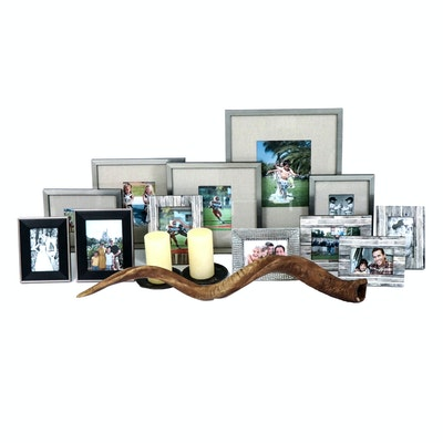 Resin Horn, Candle Holder and Tabletop Picture Frames
