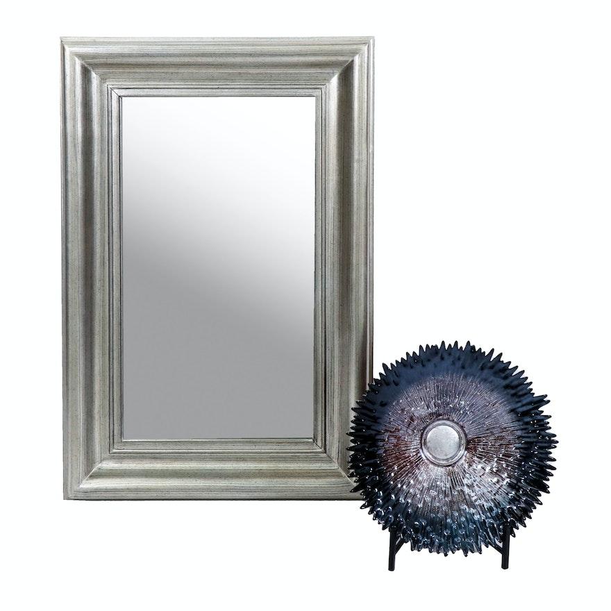 Bassett  Silver Tone Wall Mirror with Metallic Art Glass Bowl, Contemporary