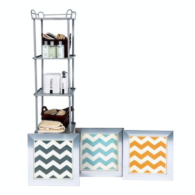Metal Bath Tower, Bath Accessories and Chevron Decor
