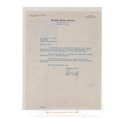 John F. Kennedy Signed Typed Letter, JSA Full Letter