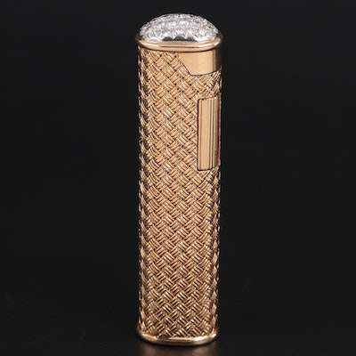 Dunhill 18K, Platinum and 1.32 CTW Diamond Capped Rollagas Lighter