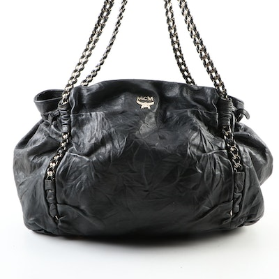 MCM Chain Shoulder Tote in Black Distressed Leather