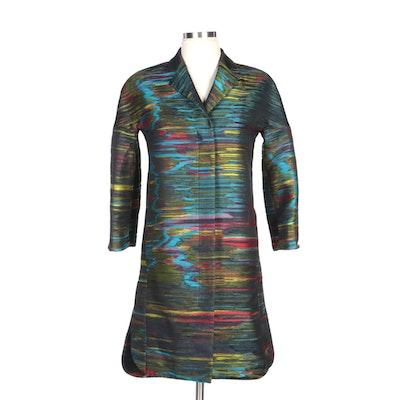 Akris Punto Abstract Multicolor Woven Coat