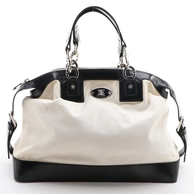 Celine Domed Satchel in White Canvas with Black Glazed Leather Trim