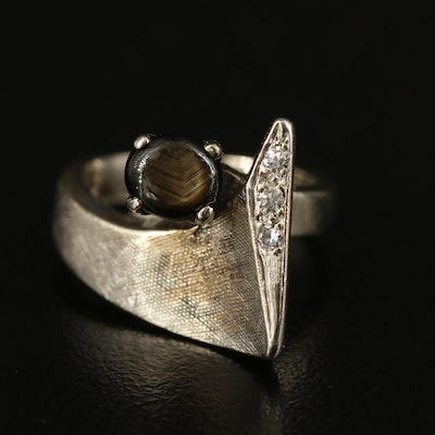 14K Black Star Sapphire and Diamond Ring