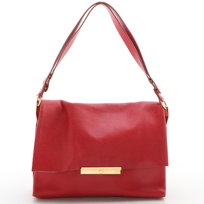 Céline Blade Flap Bag in Red Calfskin Leather