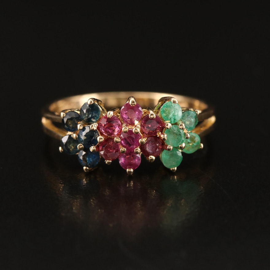 14K Ruby, Emerald and Sapphire Floral Ring