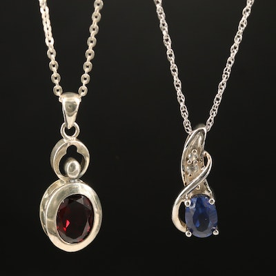 Sterling Garnet and Sapphire Pendant Necklaces