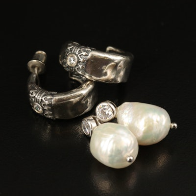 Sterling Hoop and Drop Earrings with Cubic Zirconia and Pearl