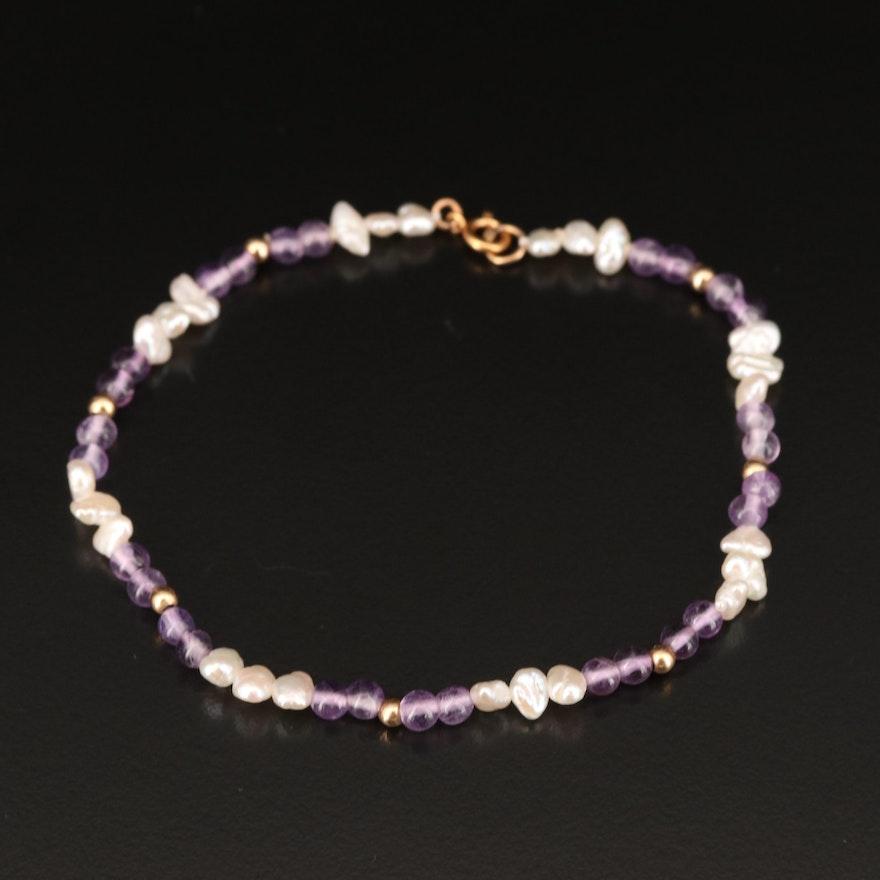 14K Baroque Pearl and Amethyst Bracelet