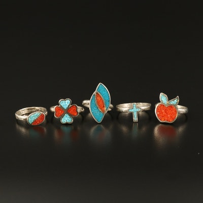 Southwestern Sterling Coral and Turquoise Inlay Rings