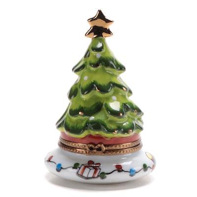 La Gloriette Hand-Painted Limoges Porcelain Christmas Tree Box