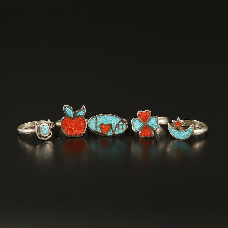 Southwestern Sterling Coral and Turquoise Rings Including Horseshoe and Clover