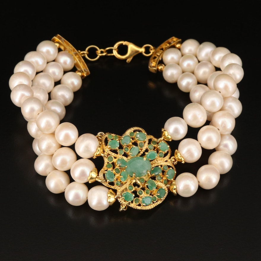 Sterling Emerald and Pearl Bracelet