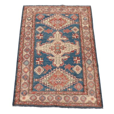 5'7 x 8'4 Hand-Knotted Afghani Caucasian Kazak Rug