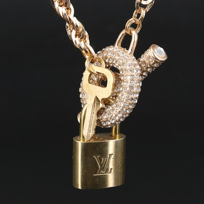 Rhinestone Rope Chain Necklace Featuring Louis Vuitton Lock and Key