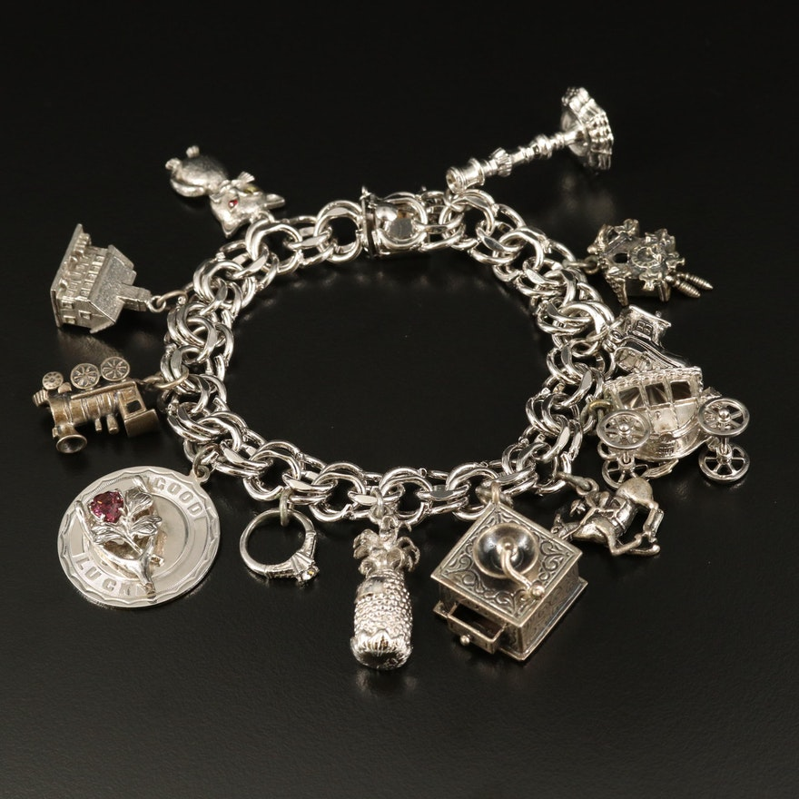 Vintage Sterling Charm Bracelet with Shoe House and Cat