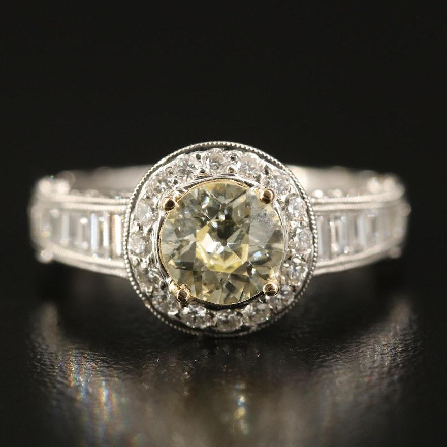 18K 2.45 CTW Diamond Ring with GIA Report
