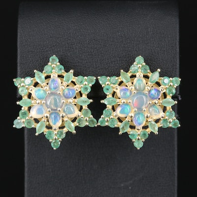 Sterling Silver Opal and Emerald Flower Cluster Earrings